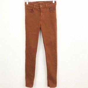 J Brand rust skinny mid-rise jeans
